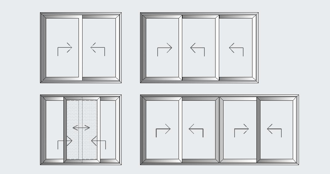 Варианты открывания раздвижных дверей
