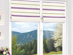 Римские шторы на пластиковые окна для спальни
