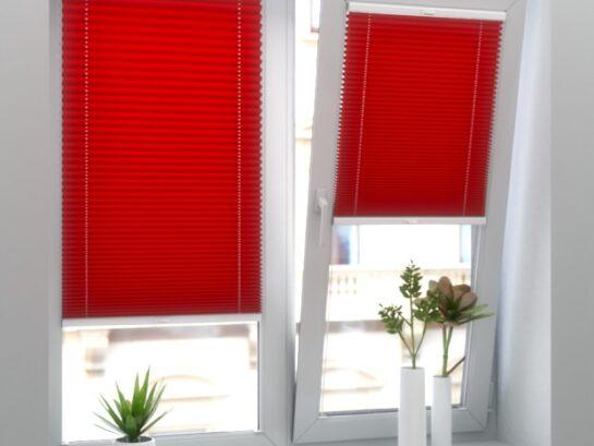 Красные шторы-плиссе