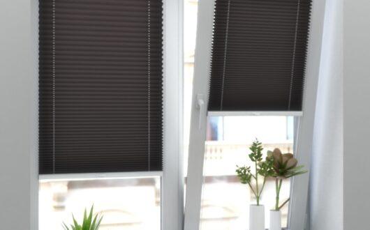Коричневые шторы-плиссе